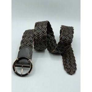 TALBOTS Brown Leather Woven Braided Wide Belt